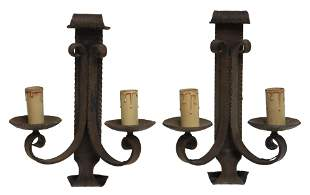 2) FRENCH GOTHIC REVIVAL WROUGHT IRON 2-LT SCONCES