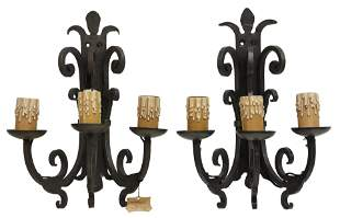 (2) FRENCH GOTHIC STYLE WROUGHT IRON 3-LT SCONCES