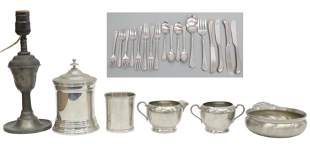 (LOT) COLLECTION OF PEWTER TABLEWARE 19TH/ 20TH C.