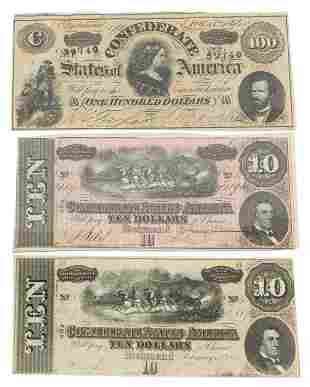 (3) CONFEDERATE STATES OF AMERICAN 1864 CURRENCY