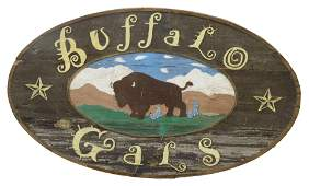 AMERICAN BUFFALO GALS PAINTED WOOD SIGN