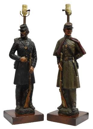 (2) DUNNING INC. CIVIL WAR SOLDIER TABLE LAMPS