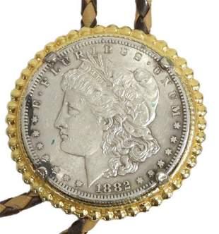 ESTATE 1882 LIBERTY HEAD SILVER DOLLAR COIN BOLO