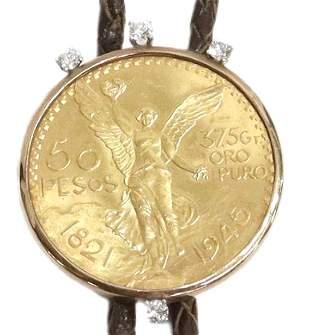 BOLO TIE,1945 MEXICO 50 PESOS GOLD COIN & DIAMONDS