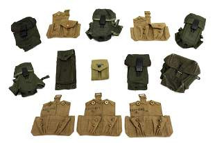 (13) U.S. & BRITISH MAGAZINE & AMMO BELT POUCHES