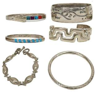 6) STERLING SILVER BANGLES & CUFFS, ISRAEL, MEXICO