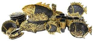 (27) MID-CENTURY LUC VALLAURIS LAVA GLAZE FISH SET