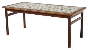 MID-CENTURY ROSEWOOD COFFEE TABLE, ROYAL CPH TILES