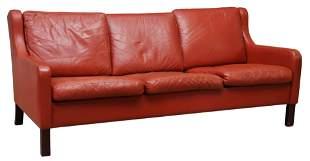 DANISH MODERN MOGENS HANSEN LEATHER 3-SEAT SOFA
