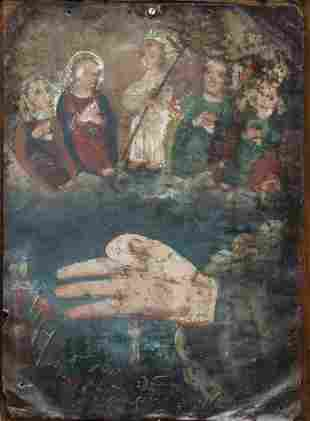 OMNIPOTENT HAND OF CHRIST FIVE PERSONS RETABLO