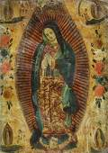 OIL ON TIN RETABLO, OUR LADY OF GUADALUPE, MEXICO
