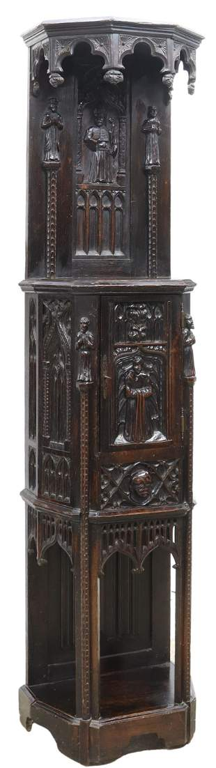 FRENCH GOTHIC REVIVAL FIGURAL CARVED CABINET