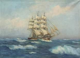 MUHLBACH FRAMED CLIPPER SHIP OIL PAINTING
