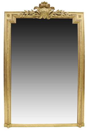 "MONUMENTAL FRENCH LOUIS XVI STYLE MIRROR, 76""H"