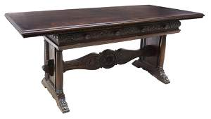 RENAISSANCE REVIVAL LIBRARY TABLE WRITING DESK
