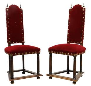 (2) CONTINENTAL OAK & VELVET SIDE CHAIRS, 19TH C.