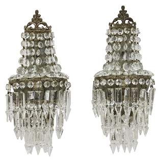(2) EMPIRE STYLE CRYSTAL ONE-LIGHT WALL SCONCES