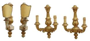 (4) FRENCH LOUIS XVI STYLE GILTWOOD WALL SCONCES