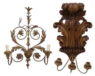 (2) CONTINENTAL CARVED & GILT WALL SCONCES