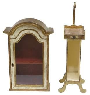 (2) FLORENTINE PARCEL GILT WALL VITRINE & STAND
