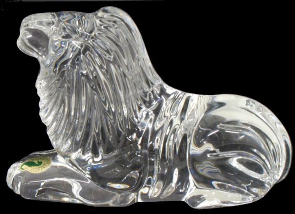 7: WATERFORD COLORLESS CRYSTAL RECLINING LION FIGURE