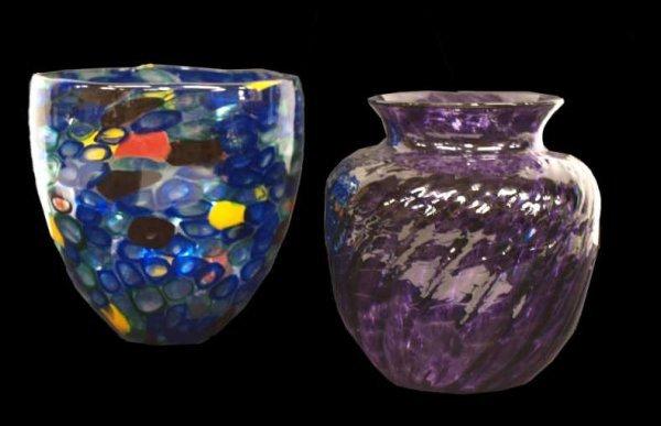 11: (2) WIMBERLEY GLASS WORKS ART GLASS, VASE, BOWL