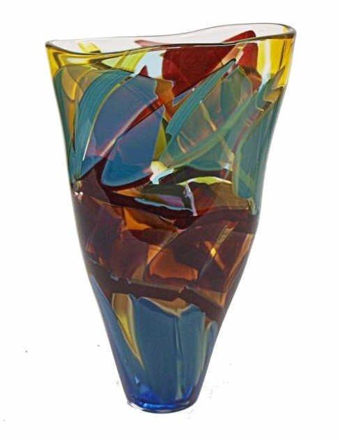 12: WIMBERLEY GLASS WORKS ART GLASS KALEIDOSCOPE VASE