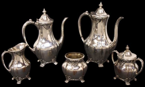 19: COMMUNITY PLATE SILVER CHATELAINE TEA/COFFE SET