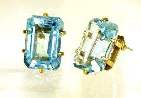 21: LADIES 14KT GOLD & EMERALD CUT BLUE TOPAZ EARRINGS