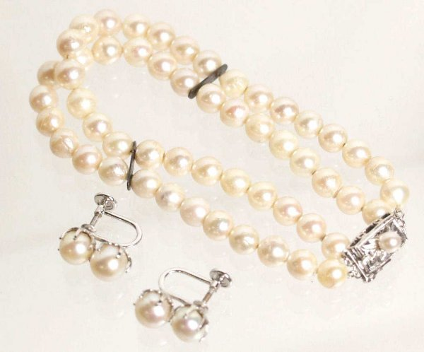 23: CULTURED PEARL & STERLING SILVER JEWELRY SUITE