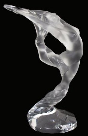 94: LARGE FRENCH LALIQUE FIGURE, ACROBATE JAMBE LEVEE