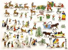 151 VINTAGE GERMAN LEAD  ENAMEL CHRISTMAS FIGURES