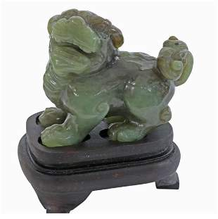 CHINESE CARVED NEPHRITE JADE FOO LION