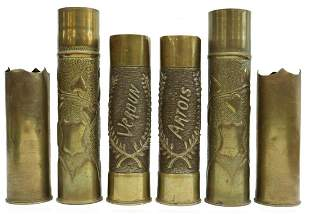 (6) WWI-ERA TRENCH ART ARTILLERY SHELL VASES