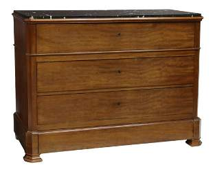 FRENCH MARBLE-TOP MAHOGANY SECRETAIRE COMMODE