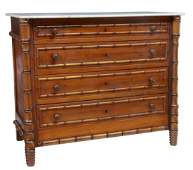 FRENCH MARBLE-TOP PINE & FAUX BAMBOO COMMODE