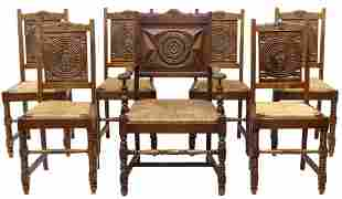 (7) FRENCH PROVINCIAL SIDE CHAIRS & ARMCHAIR
