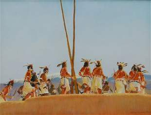 VALERIE GRAVES (NM) 'DEER HUNTERS LEAVING KIVA'