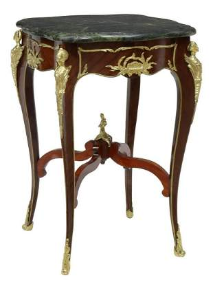 LOUIS XV STYLE MARBLE-TOP MAHOGANY SIDE TABLE