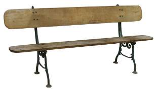 FRENCH OAK & PAINTED CAST IRON GARDEN BENCH
