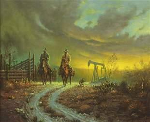 """B. ADAMS WESTERN COWBOY PAINTING, 20"""" X 24"""""""