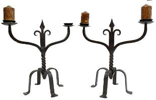 (2) FRENCH GOTHIC REVIVAL WROUGHT IRON CANDELABRA