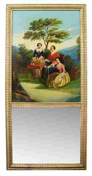 FRENCH GILT TRUMEAU MIRROR WITH GENRE PAINTING