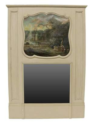 FRENCH LOUIS XVI STYLE PAINTED TRUMEAU MIRROR