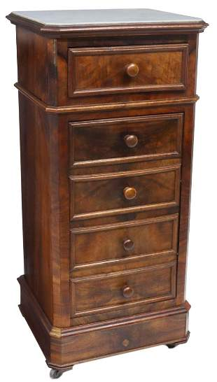 FRENCH LOUIS PHILIPPE MARBLE-TOP WALNUT NIGHTSTAND