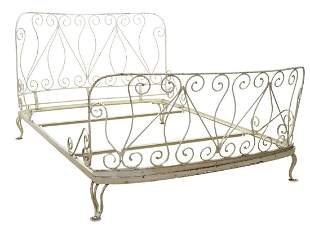 WHITE PAINTED WROUGHT IRON BED