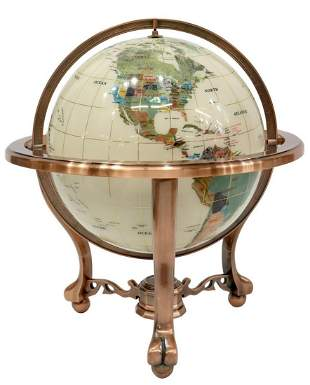 DESKTOP STONE & SHELL INLAID TERRESTRIAL GLOBE