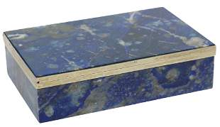 SILVER-MOUNTED LAPIS LAZULI SLAB TABLE BOX