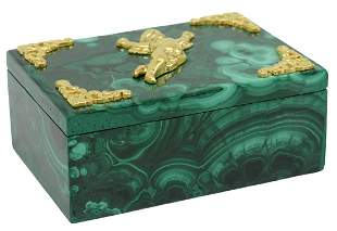 ORMOLU-MOUNTED GREEN MALACHITE BOX