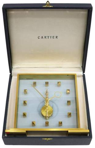 JAEGER LeCOULTRE CARTIER BRASS SKELETONISED CLOCK